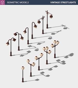 Set of vintage street lights on white. isometric illustration .