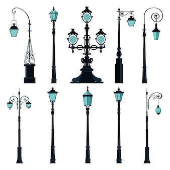 Set of vintage street lights.