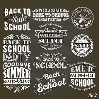 A set of vintage style back to school sale and party on black chalkboard background