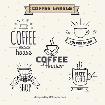 Set of vintage style coffee stickers