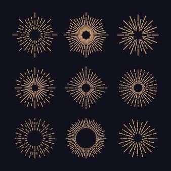 Set of vintage sunburst in different shapes