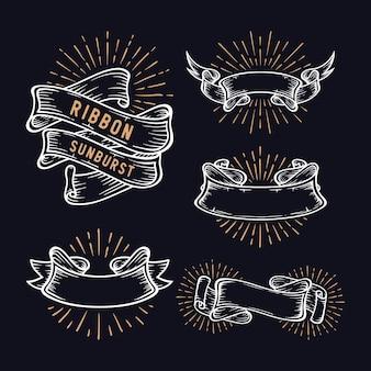 Set of vintage sunburst ribbon badges in different shapes
