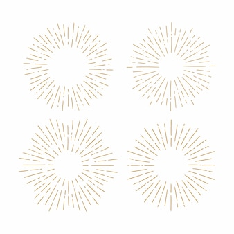 Set of vintage sunbursts in different shapes.