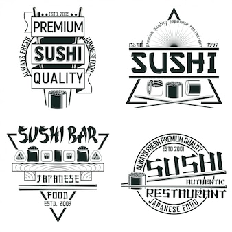 Set of vintage sushi bar logo designs,  grange print stamps, creative japanese food typography emblems,