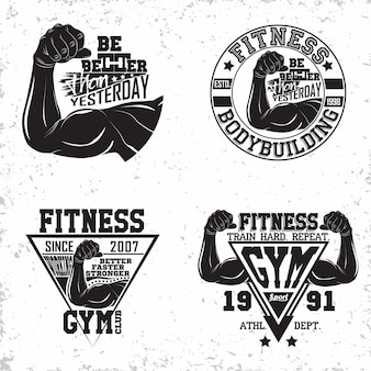 Set of vintage t-shirt graphic designs,  grange print stamps, fitness typography emblems,  gym sports logo creative design