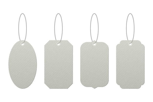 Set of vintage tags with strings vector design isolated