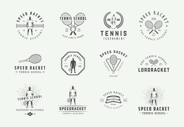 Set of vintage tennis logos, emblems, badges, labels and design elements. illustration. monochrome graphic art.