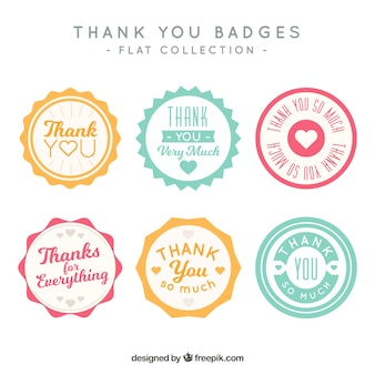 Set of vintage thank you stickers