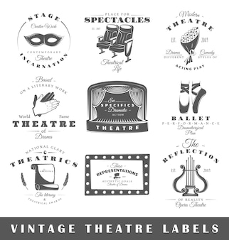 Set of vintage theatre logos