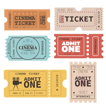 Set of vintage tickets. flat