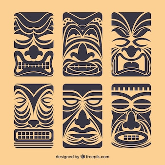 Set of vintage tiki masks