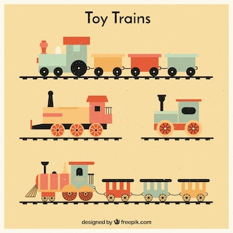 Set of vintage toy trains