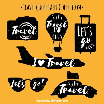 Set of vintage travel stickers