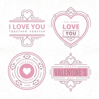 Set of vintage valentine's day labels