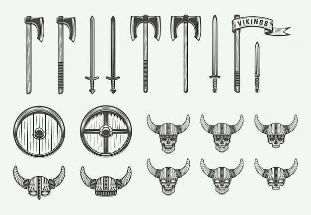 Set of vintage vikings weapons