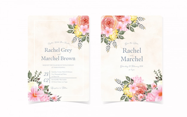 Set of vintage wedding invitation card with abstract floral and background
