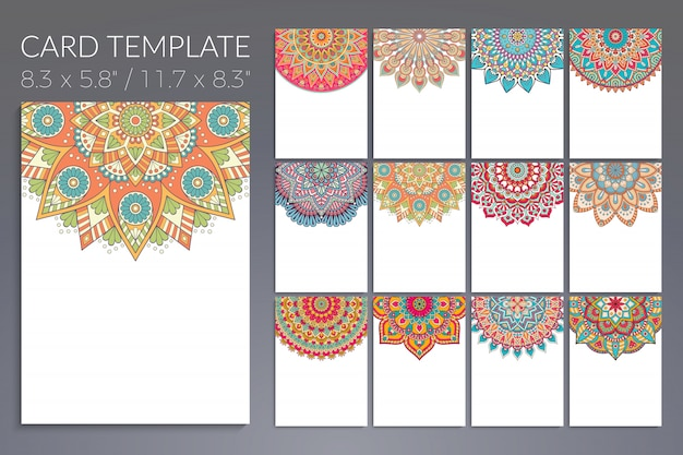 Set of vintage wedding invitation card with mandala