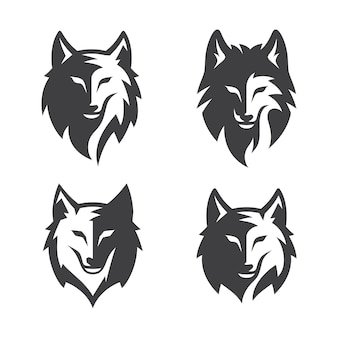 Set of vintage wild wolf silhouette isolated on white