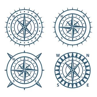 Set of vintage wind rose compass