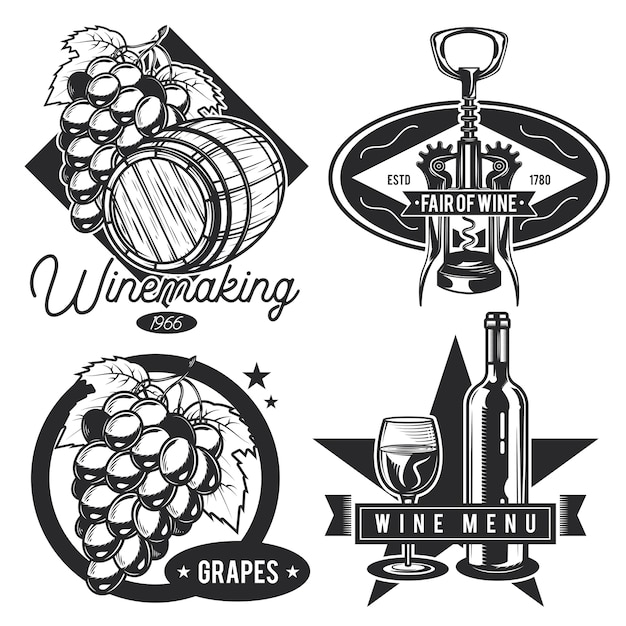 Set of vintage wine emblems