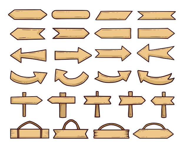 Set of vintage wood signs