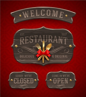 Set of vintage wooden  restaurant signs with decor and golden cutlery - illustration.