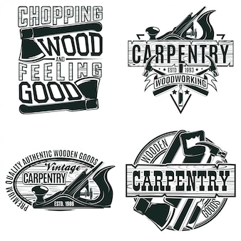Set of vintage woodworking logo designs,  grange print stamps, creative carpentry typography emblems,