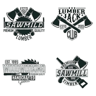 Set of vintage woodworking logo designs,  grange print stamps, creative carpentry typography emblems