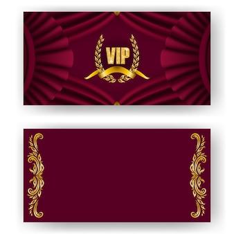 Set of vip card, invitation with laurel wreath
