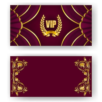 Set of vip card, invitation with laurel wreath