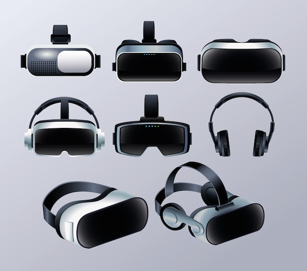 Set of virtual reality masks and earphones accessories with gray background