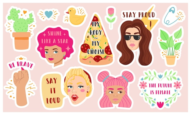 Set of vivid colorful  illustrations of diverse female heads and various symbols with inscriptions ed for contemporary feminist women