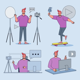 Set of vlogger characters creating