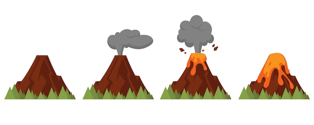 Set of volcanoes of varying degrees of eruption. flat style illustration with isolated objects.