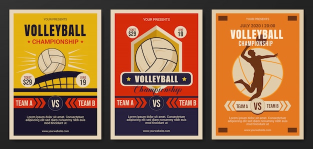 Set of volleyball championship flyer template