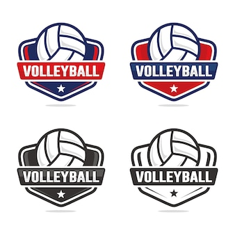 Set of volleyball logo template