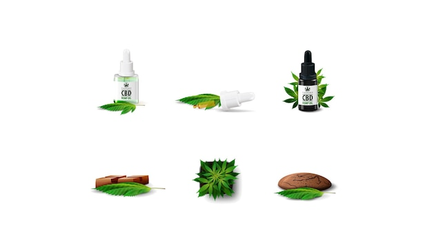 Set of volumetric cannabis industry icons isolated on white background. cannabis in a pot, cbd oil and cbd chocolate