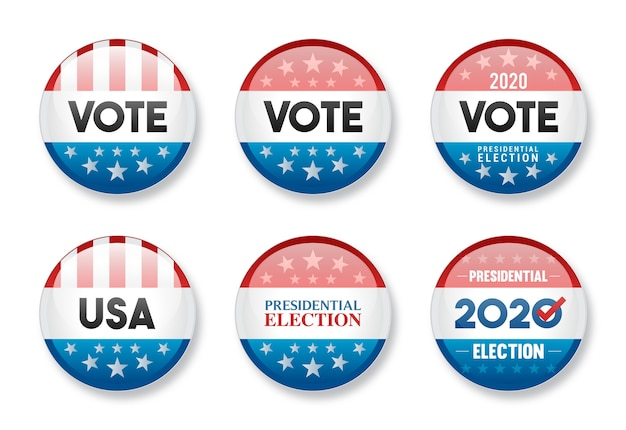 Set of vote in 2020 usa presidential election round glossy badge