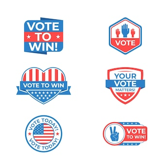 Set of voting badges and stickers