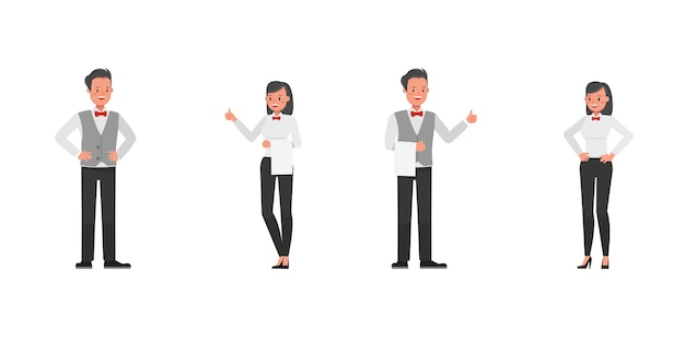 Set of waiters, man and woman characters