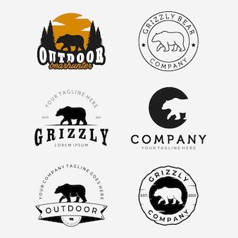 Set of walking bear hunter logo vector design, emblem bundle of bear grizzly vintage and line art illustration