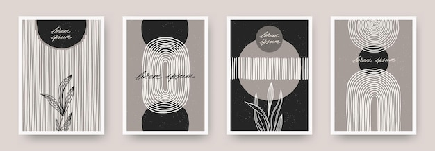 Set of wall art minimal poster design with abstract shape lines and plant