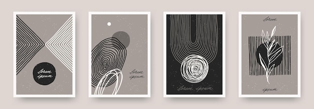 Set of wall art minimal poster design with hand drawn abstract shape lines and plant