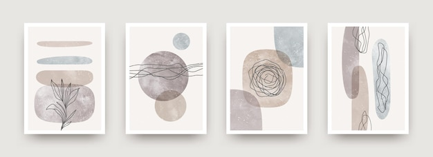 Set of wall art minimal poster scandinavian style hand drawn wall art decor