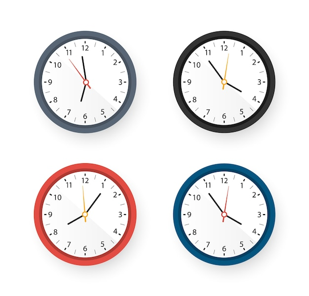 Set of wall clocks with different colors design