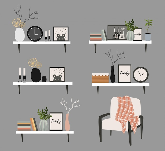 Set of wall shelves for a scandinavian-style living room interior with flower pots, vase with a branch, books, clock and paintings.