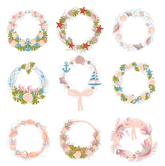 Set of wall wreaths with a nautical theme.  .