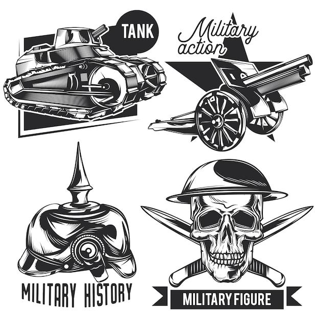 Set of war emblems, labels, badges, logos. isolated on white