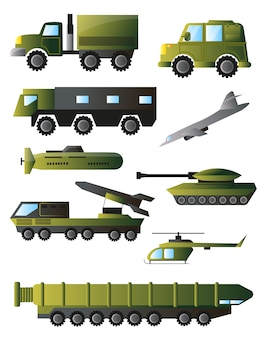 Set of war machines, tanks and equipment in green colors