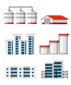 Set of warehouse. industrial buildings construction and grain terminal . set of warehouse building and delivery lorry illustration.  illustration  on white background.